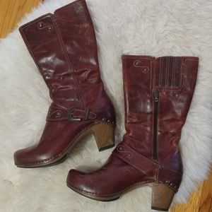 Dansko leather and wooden clog boots